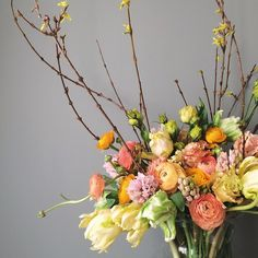 Gorgeous color palette. Minus Blooming branches and add succulents