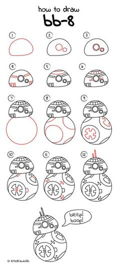 How to draw BB-8 from STAR WARS. Easy drawing, step by step, perfect for kids! Let's draw kids. http://letsdrawkids.com/
