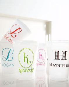 Monogrammed party cups
