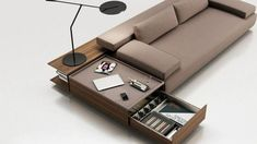 Fabric sofa with integrated magazine rack CODE By ENNE design Christophe Pillet