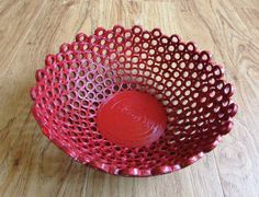 Recycled magazine bowls basket, cup, red, unikat, eco friendly, recycling, interior decor, 1st anniversary gift