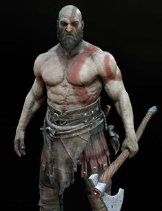 View an image titled 'Kratos Model Art' in our God of War art gallery featuring official character designs, concept art, and promo pictures. Kratos God Of War, God Of War Game, 3d Pose, Famous Warriors, Blood Hunter, Avengers Images, Game Character Design, Comic Movies, High Fantasy