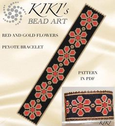 Pattern peyote bracelet Red and gold flowers peyote