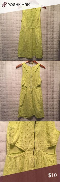 """American eagle yellow eyelet dress 4 American eagle yellow eyelet dress 4  Cute dress fully lined zipper back and waist cut outs. by American Eagle outfitters in size 4.  33x27x34"""" American Eagle Outfitters Dresses"""