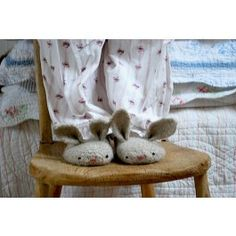 Tiny Owl Knits Hopsalot Pattern. Super cute and easy bunny slipper pattern. First you knit then you felt.