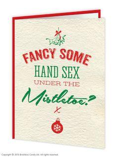 Funny Hand Sex Mistletoe Christmas Card. www.brainboxcandy.com