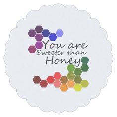 Honey Theme With Positive Words Paper Coaster - holidays diy custom design cyo holiday family
