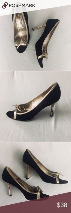 Manolo Blahnik open toe heals Manolo Blahnik black suede and gold leather open toe heals with bow detail - great shoes in good condition - the back of the right heal has a nick in it and the shoes have normal wear throughout. - size 37 Manolo Blahnik Shoes Heels
