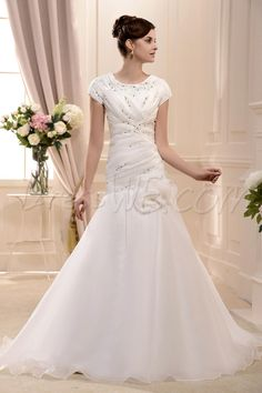 Brilliant Trumpet/Mermaid Scoop Short-Sleeve Floor-Length Ruched Flower Wedding Dress 10542739 - Trumpet/Mermaid Wedding Dresses - Dresswe.Com