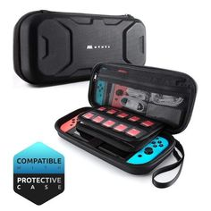 Mumba Carrying Case for Nintendo Switch, Deluxe Protective Travel Carry Case Pouch for Nintendo Switch Console & Accessories [Dual Protection] [Large Capacity] (Black) - techno products Gaming Headset, Gaming Router, Modem Router, Nintendo Switch 2017, Nintendo Ds, Surround Sound, Cheap Accessories, Other Accessories, Whisky