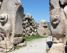 Hittites - The very famous gate of two sphinxes of Hattuša, the capital of great Hittite Empire. This is the first empire that was centered in ancient Turkey. Their language is related to Latin, Celtic, Germanic, Baltic languages, etc. at Anatolia. Turkey.