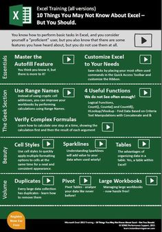 10 Things You May Not Know About Excel But You Should Infographic e-Learning Infographics Elektroniken eLearning Excel INFOGRAPHIC Infographics Microsoft Excel, Microsoft Windows, Microsoft Office, Computer Help, Computer Programming, Computer Science, Computer Tips, Computer Shortcut Keys, 6 Sigma