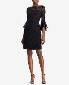 Lauren Ralph Lauren Petite Lace-Trim Dress, Regular & Petite Sizes - Black Sequin 12P