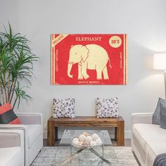 Varick Gallery Elephant Safety Matches by Terry Fan Vintage Advertisement on Wrapped Canvas Size:
