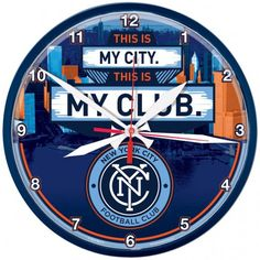 "New York City FC MLS WinCraft Sports Blue Round Wall Clock 12"" X 12"""