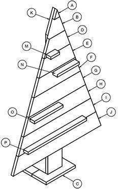 How to build a wooden tree with shelves. Wooden Xmas Trees, Pallet Wood Christmas Tree, Diy Christmas Tree, Outdoor Christmas Decorations, Christmas Signs, Christmas Projects, Christmas Holidays, Christmas Ornaments, Christmas Ideas