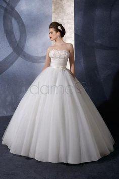 Tüll Prinzessin Organza aufgeblähtes dünnes bodenlanges trägerloses Brautkleid