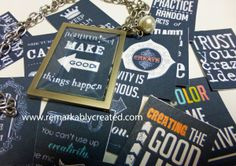 Wearable Chalkboard art - Necklace with 16 interchangeable chalkboard art inserts just $21.99