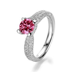 Ruby White Gold Ring  - with Ruby and Diamond (White Gold 18ct)  Rose Juwel