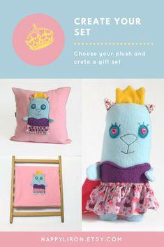 Princess Bedding Gift Set, Stuff Cat Animal Plush Toy, Security Blanket, Pink Fun Decorative Pillow, Princess Birthday Gift, Baby Girl Gift