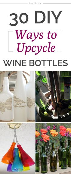 30 crafty ways to upcycle wine bottles! Love the rainbow tea lights and the fountain! #diy