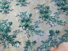 Green 3D Flowers beaded sequins lace fabric 2014 by Randyfabrics