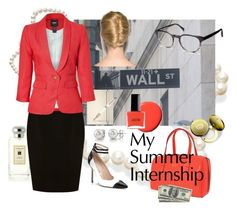 My Summer Wall Street Internship by savvy-maven on Polyvore featuring polyvore, fashion, style, Smythe, Coast, Manolo Blahnik, Kate Spade, Warby Parker, Jo Malone, Valextra, Mont Blanc, Bond No. 9, clothing and wall street