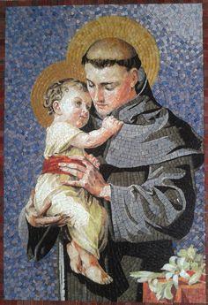 Saint Anthony of Padua made by Mosaico Arte e Mestieri, http://mosaico-arte-mestieri.com/ mosaic.