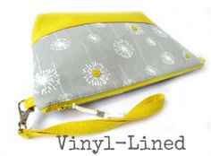 Vinyl-Lined Cosmetic Bag (Large) - Grey Dandelion Puffs with Yellow Linen Accent and Buttons // Zipper Pouch  // Travel Bag // Toiletry Bag
