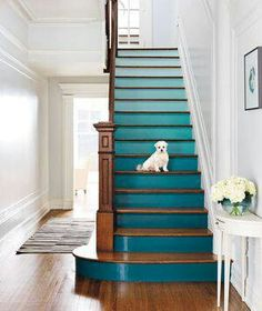 Interiors' Details ~ Ombré Teal Stairs, from 25 great ideas to decorate your Stairs