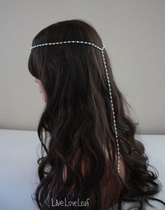 Simple beaded Headband, chain hair piece, Hair Jewelry, Pearl Hair accessories, boho chic headpiece, goddess headdress, head band, Bridal 18