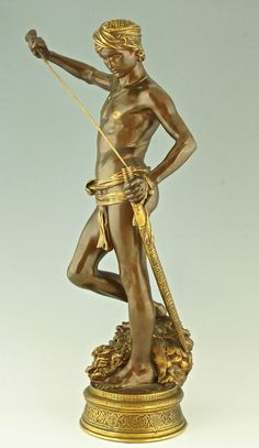 Original Skulptur Bronze David A. Mercié Barbedienne Stempel 1880 Collas