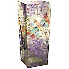 Dragonflies Square Glass Vase