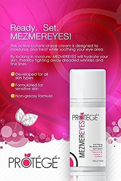 Ready, set, MezmerEYES! A complete solution that works to brighten, firm and smooth the region around the eyes, combating dark circles, wrinkles, puffiness, bags, and fine lines. #skincare #eyecare #beauty