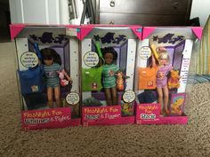 Barbie Dolls Janet Tigger, Stacie Pooh, Whitney Piglet, Flashlight Fun Lot 3 #Mattel #DollswithClothingAccessories
