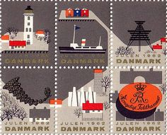 "In 1962, Erik Petersen designed this sheet of Christmas seals, depicting the gamle håndværk (""old trades"") of Denmark. via Grain edit"