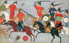 Genghis Khan in battle. Illustration from a chronicle by Rashid al-Din, 14th century.