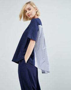ASOS WHITE Stripe Poplin Cape Back T-Shirt