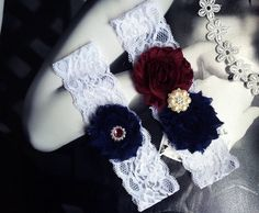 Hey, I found this really awesome Etsy listing at https://www.etsy.com/listing/472848443/navy-blue-and-deep-red-garter-maroon-and
