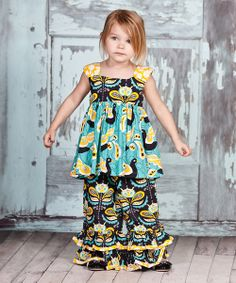 Take a look at the Teal & Yellow Lilac Lily Tunic & Pants - Infant, Toddler & Girls on #zulily today!