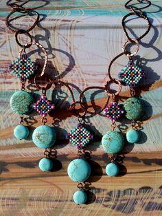 Blue & purple tone enclosed beaded tribal diamonds w/ faux cascading turquoise $40.00