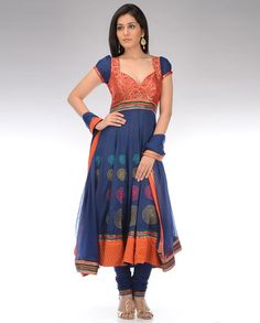 Cobalt-Blue Kalidar-Suit with Brocade Yoke -- Exclusively In