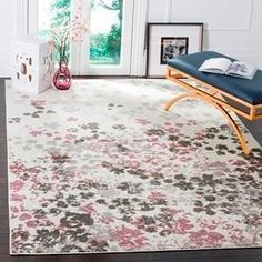 Safavieh Adirondack Collection ADR107S Ivory And Slate Rustic Bohemian Area Rug Living Room Pink