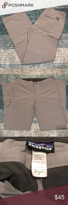 Patagonia Grey Hiking Pant Women's Grey Size 2 Patagonia Rock Pant. Great pant for the outdoors. Stretchy fabric for easy movement. Rear and side zip pockets. Two front pockets with no zippers for easy access. Great Pant only worn a few times. Selling because I have too many hiking pants. Patagonia Pants
