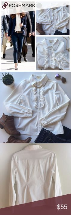 🍁NEW🍁 Michael Kors Ruffle Button Down Classic and chic white button with ruffle down front. Easy to wear with jeans, business casual or a full on suit. 🔹Bundle & Save! 🔹 Michael Kors Tops Button Down Shirts