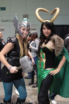 Thor and Loki Cosplay Girls - Robot Mutant Super Hero Costumes, Girl Costumes, Cosplay Costumes, Halloween Costumes, Costume Ideas, Cosplay Ideas, Thor Cosplay, Best Cosplay, Cosplay Girls
