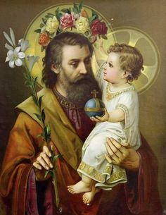 Saint Joseph and Baby Jesus Catholic Prayers, Catholic Art, Catholic Saints, Religious Art, Roman Catholic, Religious Pictures, Jesus Pictures, St Joseph Prayer, Saint Joseph