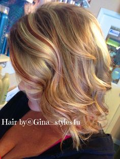 Copper red hair color highlights layers curls fall autumn haircolor hair painting balayage blonde hair