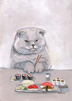 Sushi Cat Grumps Print.     BlueBirdieBoutique