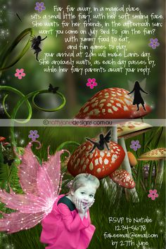 Image detail for -... Forest & Fairy themed Birthday Party Invitation~ | NattyJane Designs